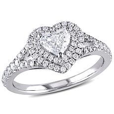 14K White Gold .98ctw Diamond Heart Engagement Ring