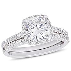 14K White Gold Cushion-Cut Moissanite and Diamond Halo Bridal Ring Set