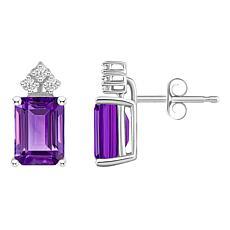 14K White Gold Gemstone and Diamond 8x6mm Emerald-Cut Stud Earrings