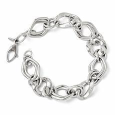 14K White Gold Polished and Textured Fancy Link Bracelet