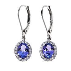 14K White Gold Tanzanite and Diamond Oval Halo Drop Earrings