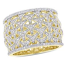 14K Yellow Gold 0.50ctw Diamond Openwork Fashion Woven Ring