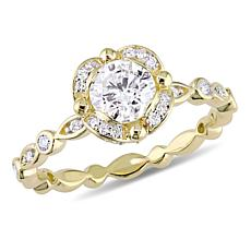 14K Yellow Gold 1.01ctw Diamond Round Engagement Ring