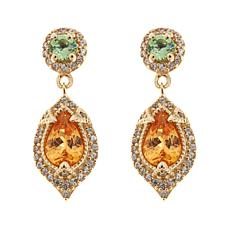 14K Yellow Gold 1.65ctw Spessarite, Mint Garnet and Zircon Earrings