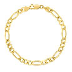 "14K Yellow Gold 4.5mm Diamond-Cut Figaro Chain Bracelet - 8"""