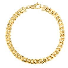 14K Yellow Gold 6.4mm Semi-Solid Square Franco Chain Bracelet - 9""