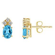 14K Yellow Gold 6x4mm Oval-Cut Gemstone and 3-Diamond Stud Earrings