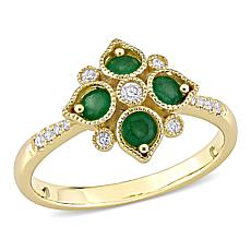 14K Yellow Gold Diamond and Emerald Geometric Ring