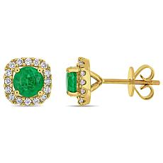 14K Yellow Gold Diamond and Emerald Square Stud Earrings