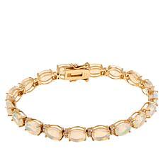 14K Yellow Gold Ethiopian Opal and Diamond Tennis Bracelet