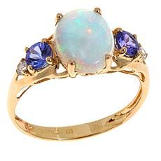 14K Yellow Gold Opal, Tanzanite & Diamond 5-Stone Ring