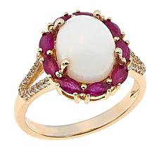 14K Yellow Gold White Coral, Ruby and White Zircon Ring