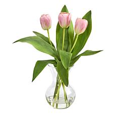 15 in. Tulip Artificial Arrangement in Glass Vase