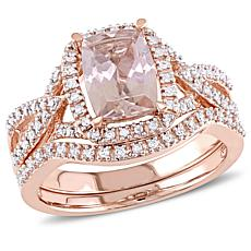 1.57ctw Pink Morganite and Diamond 10K 2-piece Ring Set