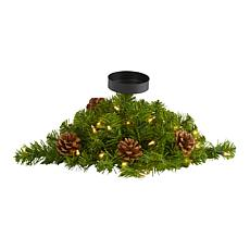 16 in. Christmas Pine Candelabrum with 35 Lights and Pine Cones