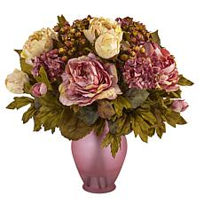 16 in. Peony Artificial Arrangement in Rose Colored Vase