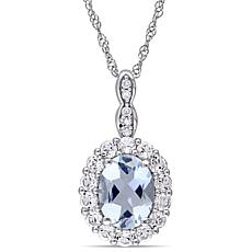 1.62ctw Aquamarine, White Zircon & Diamond 14K Pendant