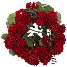 "17"" Geranium Artificial Wreath"