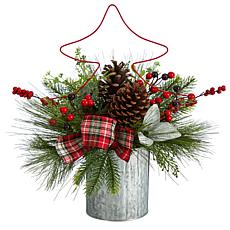 """17"""" Pinecone and Berries Christmas with Decorative Metal Vase"""