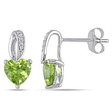 1.71ctw Peridot & Diamond 10K White Gold Heart Earrings