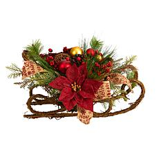"""18"""" Christmas Sleigh with Poinsettia, Berries and Pinecones"""