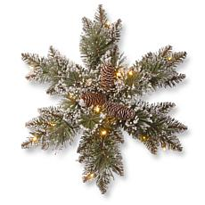 "18"" Glittery Bristle® Pine Snowflake with LED Lights"