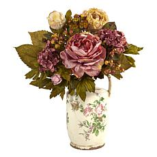 18 in. Peony Artificial Arrangement in Floral Pitcher