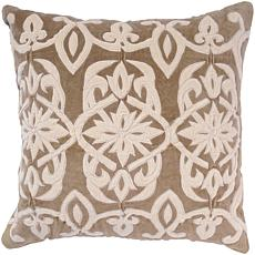 "18"" x 18"" Appliqued Velvet Pillow - Tan/Off White"