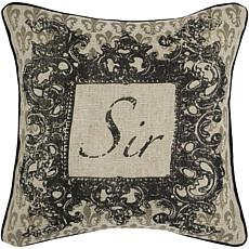 "18"" x 18"" Vintage Sir Pillow - Beige/Black"