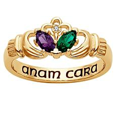 18K Gold-Plated Couple's Marquise Birthstone Ring