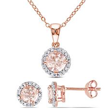 18K Rose Gold-Tone Morganite and Diamond Halo Necklace and Earrings