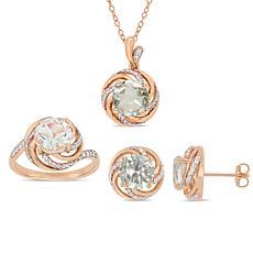 18K Rose Gold-Tone Prasiolite, White Topaz & Diamond Swirl Jewelry Set