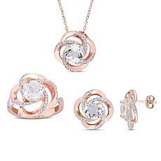 18K Rose Gold-Tone White Topaz Open Swirl Pendant, Ring and Earrings