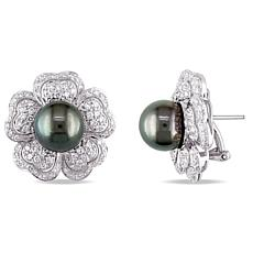 18K White Gold Cultured Tahitian Black Pearl and Diamond Floral Studs