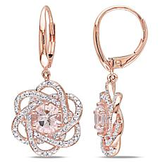 1.94ctw Pink Morganite and White Diamond Earrings