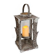"19.5"" Wooden Lantern with LED Candle"