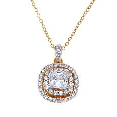 1.9ctw Absolute™ Princess-Cut Double Halo Pendant