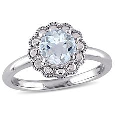 1ctw Aquamarine 10K White Gold Flower Ring