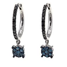 1ctw Colored Diamond Hoop Earrings with Cluster Drop