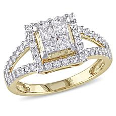 1ctw Princess and Round White Diamond Halo Ring