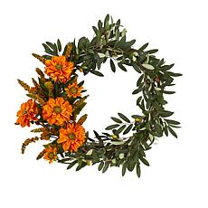 "20"" Olive & Zinnia Artificial Wreath"