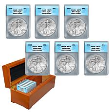 2010-2015 MS70 ANACS 6-piece Silver Eagle Dollar Set