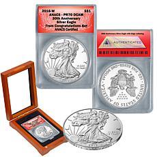 2016-W PR70 ANACS 30th Anniversary Congratulations Silver Eagle Dollar