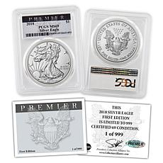 2018 MS69 PCGS Premier Label Silver Eagle Dollar Coin