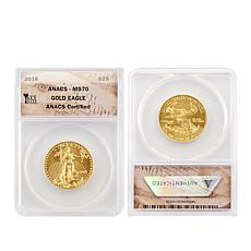 2018 MS70 ANACS $25 Gold Eagle Coin with Key Date Label