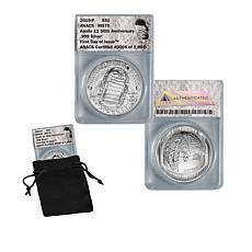 2019 MS70 FDOI LE 1969 Apollo 11 50th Anniversary 99.9% Silver Dollar
