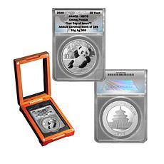2020 MS70 ANACS FDOI LE 389 Silver Panda 10-Yuan Coin