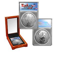 2021 MS70 ANACS FDOI LE 221 $5 Canada Maple Leaf 99.99% Silver Coin
