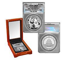 2021 MS70 ANACS FDOI LE 221 Silver Panda 10-Yuan Coin