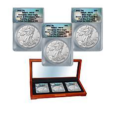 2021 P/S/W-Mint MS70 FDOI LE 420 Emergency Silver Eagle Dollar Trio